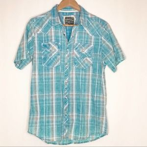 BKE Vintage Standard Fit Plaid Pearl Snap Shirt  S